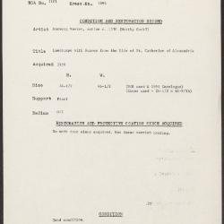 Image for K1696 - Condition and restoration record, circa 1950s-1960s