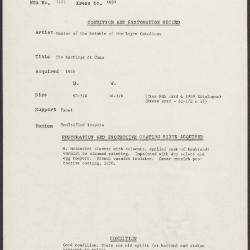 Image for K1680 - Condition and restoration record, circa 1950s-1960s