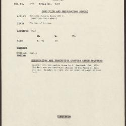 Image for K1260 - Condition and restoration record, circa 1950s-1960s