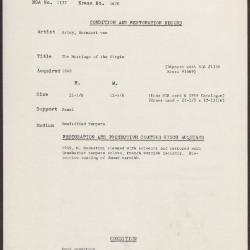 Image for K1670 - Condition and restoration record, circa 1950s-1960s