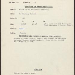 Image for K1357 - Condition and restoration record, circa 1950s-1960s