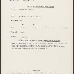 Image for K0085 - Condition and restoration record, circa 1950s-1960s