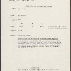 Image for K1943 - Condition and restoration record, circa 1950s-1960s