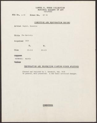 Image for KSF05H - Condition and restoration record, circa 1950s-1960s