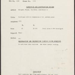 Image for K1701 - Condition and restoration record, circa 1950s-1960s