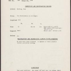 Image for K2088 - Condition and restoration record, circa 1950s-1960s