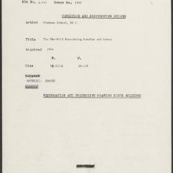 Image for K1382 - Condition and restoration record, circa 1950s-1960s