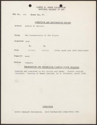 Image for K0084 - Condition and restoration record, circa 1950s-1960s