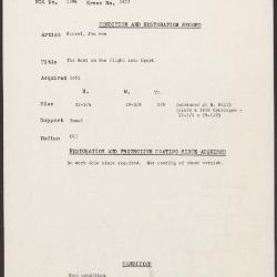 Image for K1872 - Condition and restoration record, circa 1950s-1960s