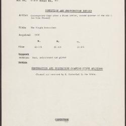 Image for K0601 - Condition and restoration record, circa 1950s-1960s