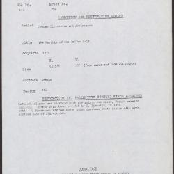 Image for K0328 - Condition and restoration record, circa 1950s-1960s