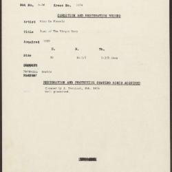 Image for K1304 - Condition and restoration record, circa 1950s-1960s