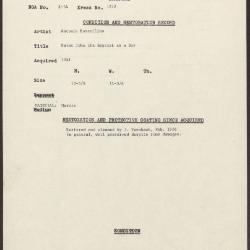 Image for K1252 - Condition and restoration record, circa 1950s-1960s