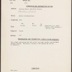 Image for K1954 - Condition and restoration record, circa 1950s-1960s