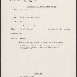 Image for K1432 - Condition and restoration record, circa 1950s-1960s