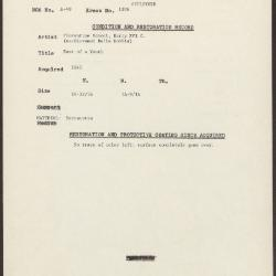 Image for K1306 - Condition and restoration record, circa 1950s-1960s