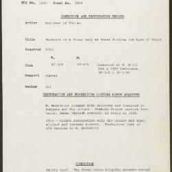 Image for K1804 - Condition and restoration record, circa 1950s-1960s