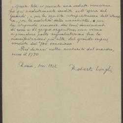 Image for K0235 - Expert opinion by Longhi, 1932