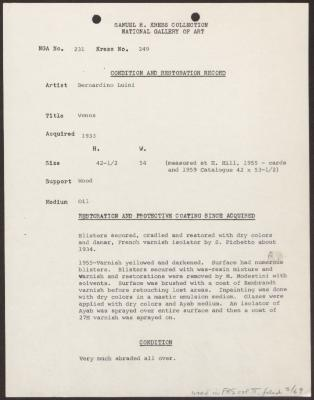 Image for K0249 - Condition and restoration record, circa 1950s-1960s