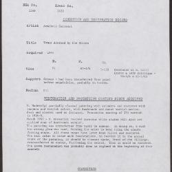 Image for K1622 - Condition and restoration record, circa 1950s-1960s
