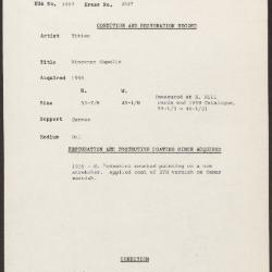 Image for K2047 - Condition and restoration record, circa 1950s-1960s