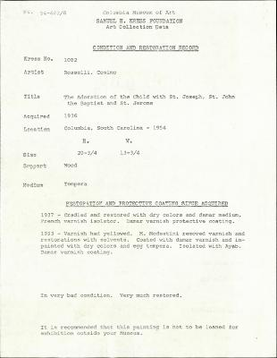 Image for K1002 - Condition and restoration record, circa 1950s-1960s