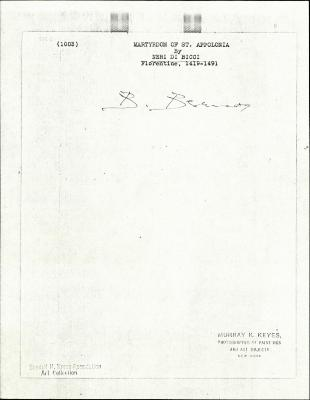 Image for K1003 - Expert opinion by Berenson, circa 1920s-1950s