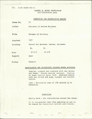 Image for K0010 - Condition and restoration record, circa 1950s-1960s