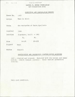 Image for K1003 - Condition and restoration record, circa 1950s-1960s