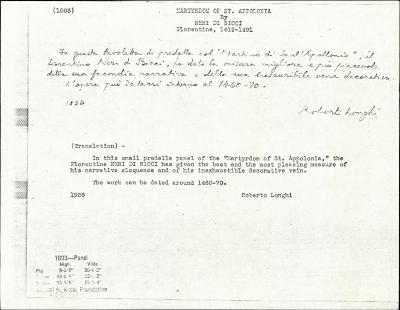 Image for K1003 - Expert opinion by Longhi, 1936