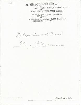 Image for K1014 - Expert opinion by Berenson, circa 1920s-1950s