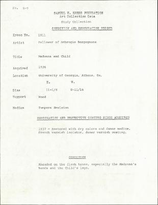 Image for K1011 - Condition and restoration record, circa 1950s-1960s