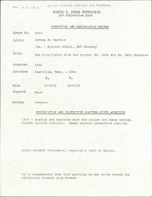 Image for K1014 - Condition and restoration record, circa 1950s-1960s