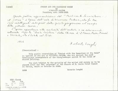 Image for K1006 - Expert opinion by Longhi, 1936