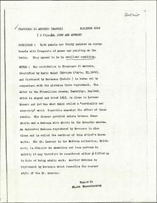 Image for K1015A - Alan Burroughs report, circa 1930s-1940s