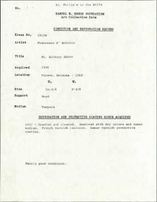 Image for K1015B - Condition and restoration record, circa 1950s-1960s