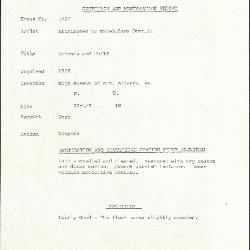 Image for K1027 - Condition and restoration record, circa 1950s-1960s
