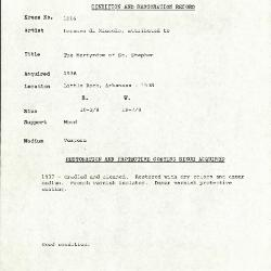 Image for K1016 - Condition and restoration record, circa 1950s-1960s