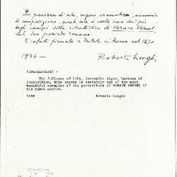 Image for K1035 - Expert opinion by Longhi, 1936