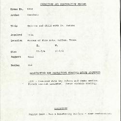Image for K1032 - Condition and restoration record, circa 1950s-1960s