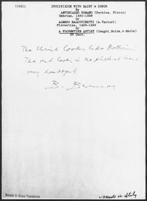Image for K1031 - Expert opinion by Berenson, circa 1920s-1950s
