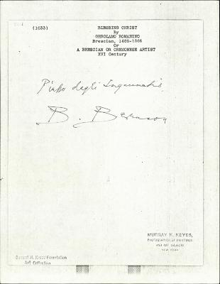 Image for K1033 - Expert opinion by Berenson, circa 1920s-1950s