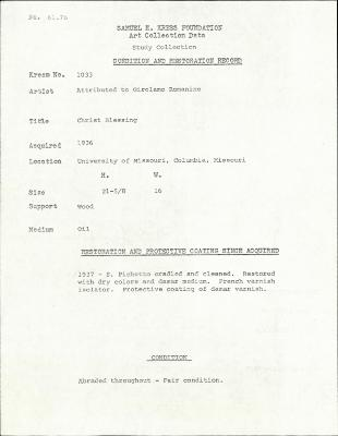 Image for K1033 - Condition and restoration record, circa 1950s-1960s