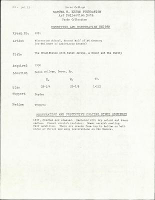 Image for K1031 - Condition and restoration record, circa 1950s-1960s