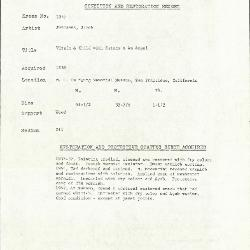 Image for K1037 - Condition and restoration record, circa 1950s-1960s