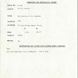 Image for K1041 - Condition and restoration record, circa 1950s-1960s