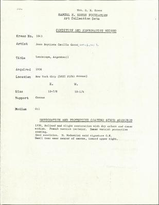 Image for K1043 - Condition and restoration record, circa 1950s-1960s