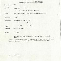 Image for K1046 - Condition and restoration record, circa 1950s-1960s