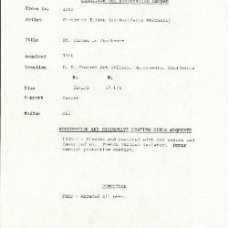 Image for K1052 - Condition and restoration record, circa 1950s-1960s