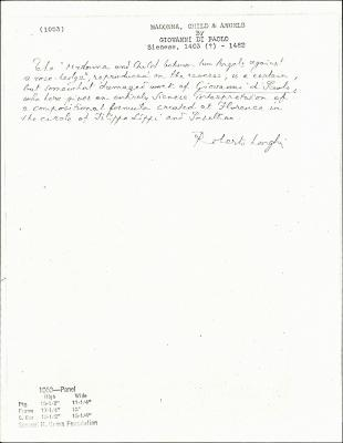Image for K1053 - Expert opinion by Longhi, circa 1920s-1950s